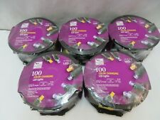 Lot Of 5 HALLOWEEN 100 LED LIGHTS Home Accents ORANGE PURPLE Dual Color Changing