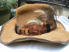 WINDFIELD COVER CO-SF WESTERN STYLE CARAMEL SUEDE HAT W/FEATHERS-#46 L-SUPERB