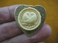 (cs7-15) DOVES bird CAMEO ivory tan round Pin Jewelry brooch PENDANT necklace