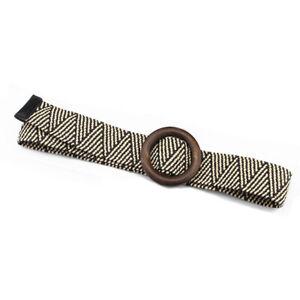 Women Belt Wooden Buckle Braided Wide Dress Belt Solid Boho Fake Straw Belt Casu
