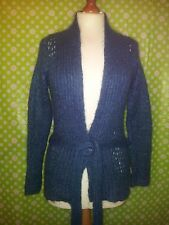 Cara-gorda cerceta azul mohair con cinturón mezcla chaqueta-talla 8-10 - Perfecto Estado