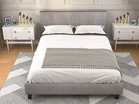 Modern Full Size Upholstered Linen Platform Bed Metal Frame Bedroom Furniture