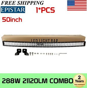 50INCH 288W CURVED LED WORK LIGHT BAR COMBO BEAM Offroad 4WD UTE Boat Truck SLIM