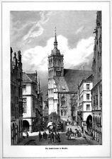 Münster, Lambertikirche, Original-Holzstich von1881
