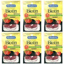 Lot of 6 Pack Restorz, Dietary Supplement Biotin Gummy, Good for Hair,Skin,Nails