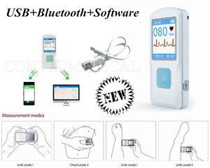 Handheld Portable ECG EKG machine LCD Heart beat Monitor, Bluetooth+USB+Software