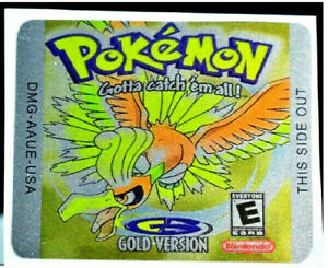 Gameboy Pokemon Gold Version Replacement Label Decal foil Metalic Sticker