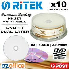 PREMIUM 10 x Ritek / Ridata DVD+R DL 8.5GB Dual Layer 8X Blank DVD Printable