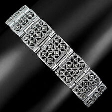 VINTAGE STYLE~DELUXE NATURAL CHAMPAGNE MARCASITE STERLING 925 SILVER BRACELET