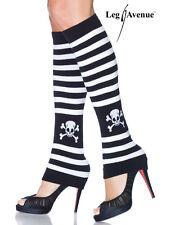 SKULL BLACK WHITE STRIPE LEGWARMERS LEG WARMERS YOGA LEG AVENUE GREAT WITH HEELS