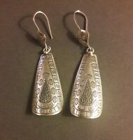 "Silpada Southwestern Sterling Silver 2.75"" Dangle Earrings Signed India 925"