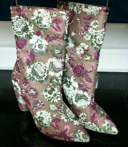 Quiz Boots New Womens Floral Tapestry Pointed Toe Block Heel UK 5 RRP £39.99