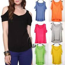 WHOLESALE BULK LOT OF 15 MIXED Colour Off Shoulder Stretch Top T-Shirt  T084