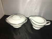 VINTAGE NORITAKE WHITEHALL CHINA 6115 SUGAR & CREAMER W/LID PLATINUM TRIM JAPAN