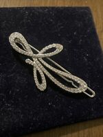 Swarovski Swan Signed Crystal   Rhodium  Hair Clip