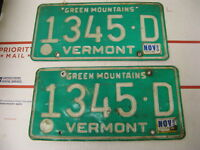 1980 80 Vermont VT License Plate 1345D Green Mountains Pair