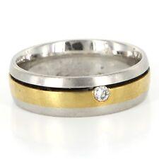 Estate Gelin Abaci Platinum 18k Yellow Gold Diamond Mens Wedding Band Sz 9