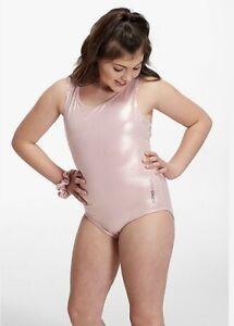 NWT JUSTICE Active girls leotard gymnastics Shimmer Laser Cut Pink size 12