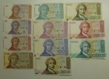 More details for croatia republic first issue banknotes 1991-93 11 different to 100,000 dinara