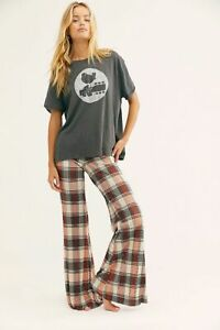 Free People Bethany Check Flared Trousers Size XS
