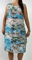 LIZ JORDAN Blue Grey Floral Print Layered Midi Shift Dress Plus Size AU 16 Boho