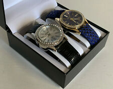NEW! XOXO GOLD DIAL NAVY BLUE STRAP & SILVER DIAL BLACK LEATHER WATCH DUO SET