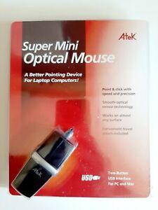 Atek Super Mini Optical Mouse w/ Travel Case Brand New Selaed