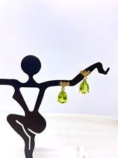 Vintage 14k Yellow Gold Peridot & Diamond Earrings