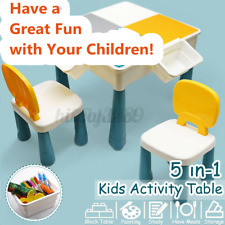 5in1 Kids Multi Activity Table Set Play Desk Children Building Block w/2 Chairs