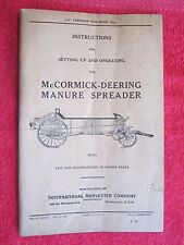 1929 IH McCORMICK DEERING MANURE SPREADER SETTING UP, OPERATING & PARTS MANUAL