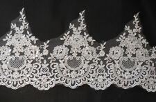ivory sequined floral lace trim bridal wedding sequined lace trim. Per Yard 90cm