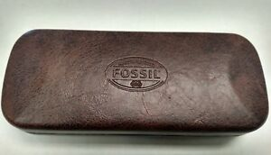 """FOSSIL Clamshell/Hinged EYEGLASSES CASE """"What vintage are you?"""" Brown/Black"""