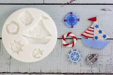 Silicone Mould, Nautical, Yacht, Compass, Anchor, Ellam Sugarcraft M110