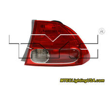 TYC Right Side Tail Light Lamp Assembly for Honda Civic Sedan 2006-2008