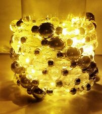 Gold Yellow Pre-Lite LED Lighted Bead String Garland 8 ft Wedding Holiday Party