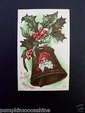 #H93- Vintage Unused Xmas Postcard Santa on a Brass Holiday Bell & Holly