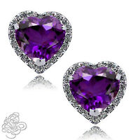 1.89 CT HALO HEART AMETHYST STUD EARRINGS 14K W GOLD PLATED SILVER OVER SAPPHIRE
