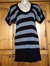 ❤️ Womens Black & Grey Topshop Jumper Dress Size 10 Exc Cond ❤️