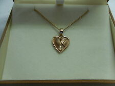 Clogau 9ct Rose Welsh Gold Celtic Weave Heart Diamond Pendant with Extension