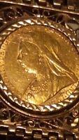 22ct Gold Full Sovereign 1900 Queen Victoria & 9ct Gold 7 Bar Gate Bracelet*****