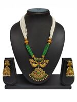 Bollywood Indian Ethnic Green Pearl Fashion Traditional Necklace set For Women