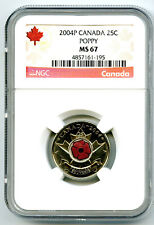 2004 P CANADA 25 CENT NGC MS67 UNCIRCULATED POPPY QUARTER COLORIZED LOW POP