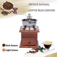 Vintage Antique Mini Wooden Coffee Bean Mill Manual Hand Crank Grinder Gifts US