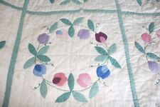 Antique 1930's Handmade Quilt Flowers Good Color 65 x 83 inches