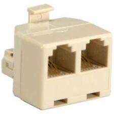 RJ11 6P4C Telephone/Phone Line 1 Male to 2 Female Modular  Adapter Ivory