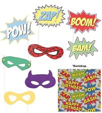 Super Hero Photobooth Props & Background Party Decoration Comic Book Fancy Dress