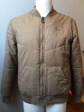 BILLABONG Men Fall Spring Jacket Nylon Fleece Interior Small Zipper Front Beige