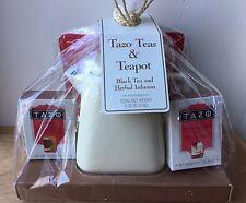 Starbucks Cream Tazo Ceramic Stone Teapot with 4 Black / Herbal Teabags