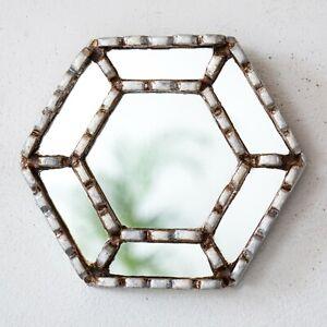 Small Silver Mirror for Wall Decor   Peruvian Ornate Hexagon Mirror Wall art