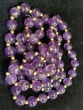 "Vintage 8.5 mm Purple AMETHYST & 14K GOLD BEADS Strand NECKLACE 30"" Long 52 Gram"